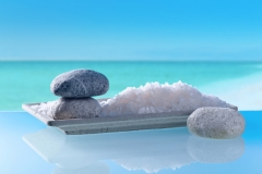 Sea salt on a background of seascape